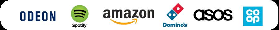 Discount Logos - Odeon - Spotify - Amazon - Domino's - Asos - Co-op